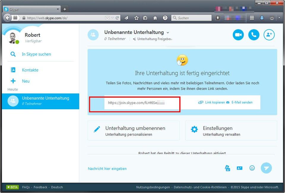Skype im Browser: Über den Link könnt ihr andere zum Gespräch einladen.