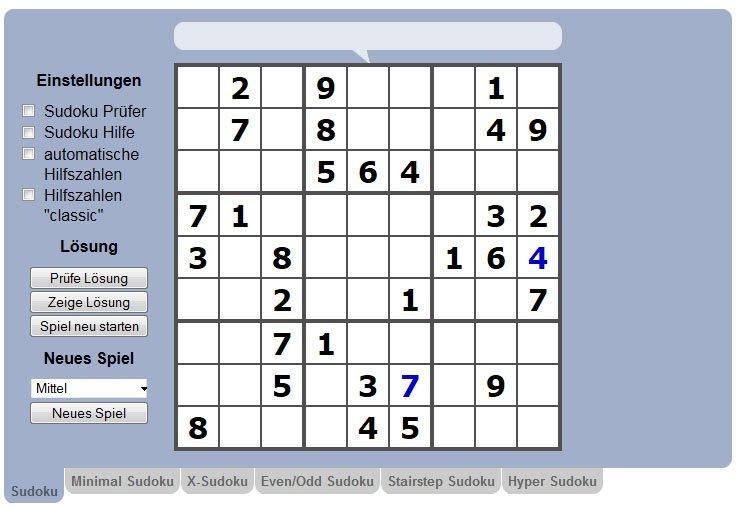 Sudoku Space spielt ihr im Webbrowser in verschiedenen Varianten.