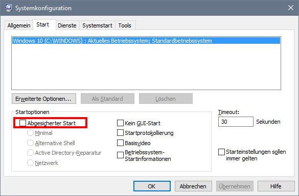Entfernt das Häkchen, damit Windows 10 nicht mehr im abgesicherten Modus startet.