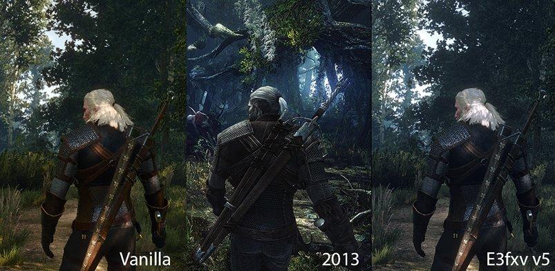Links seht ihr die normalen Einstellungen, in der Mitte die Bilder von der E3 2013 und rechts die Grafikänderungen durch die E3FX Mod.