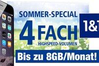 Nur noch 5 Tage: 4-faches Higspeed-Volumen bei 1&1 All-Net-Flat – bis zu 8 GB/Monat!
