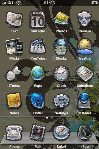 Mein modifizierter iPhone-Homescreen vom 10.12.2007
