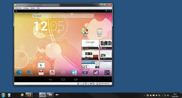 Android läuft in Virtualbox unter Windows 7.