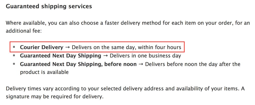 Apple Store Same Day Delivery USA