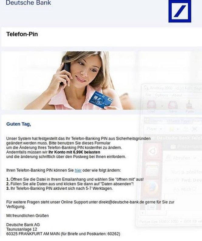 deutsche bank AG telefon PIN