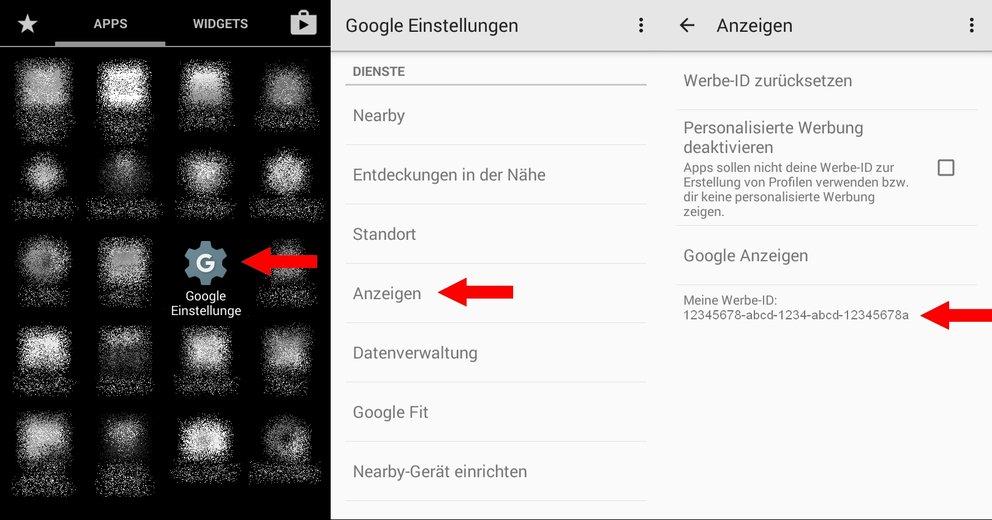 Google Einstellungen Werbe-ID