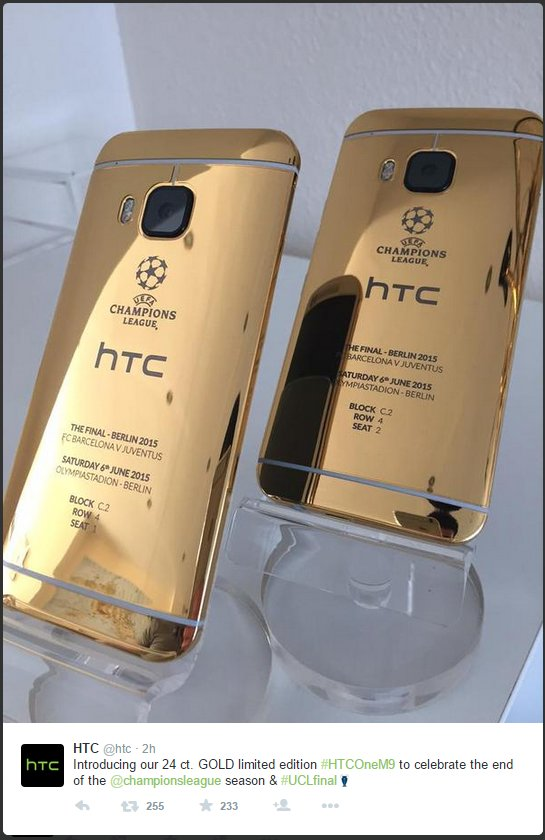 HTC-One-m9-gold-iphone-spiegelung