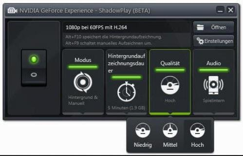 Nvidia Shadowplay Options