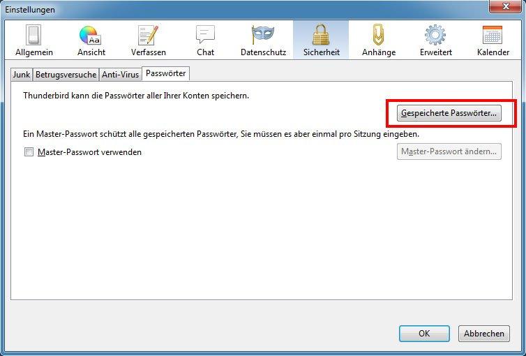 In Thunderbird könnt ihr euch gespeicherte Passwörter auslesen und anzeigen lassen.