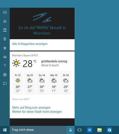 Cortana zeigt euch Schlagzeilen des Tages, das Wetter, Erinnerungen und vieles mehr.