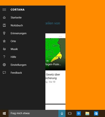 Windows 10: Cortana hat ihre eigene Menü-Leiste.