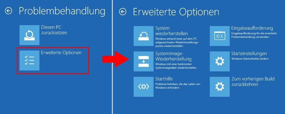 Windows 10: In den Erweiterten Optionen findet ihr alle Tools zur Problembehandlung.