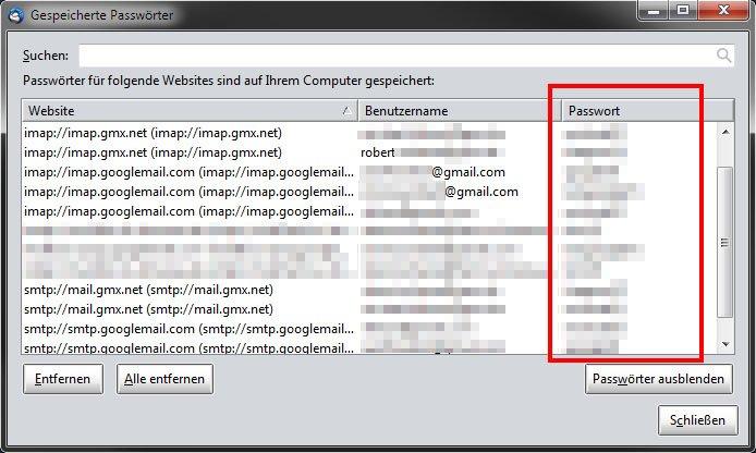 Thunderbird zeigt euch alle gespeicherte Passwörter eurer E-Mail-Konten an.