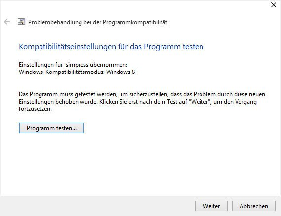 Windows 10: Die Problembehandlung bei Programmkompatibilität setzt automatisch Einstellungen für nicht funktionierende Programme.