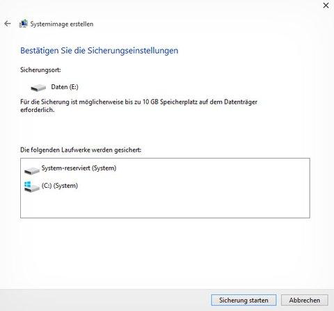 Windows 10 sichert alle Windows-Laufwerke auf eine andere Festplatte als Image-Backup.