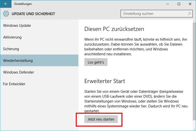 Windows Erweiterter Start