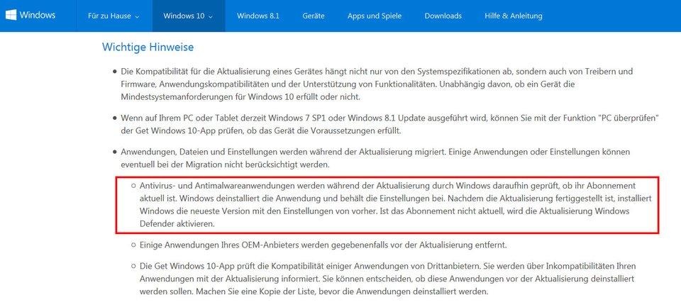 Windows 10 entfernt gegebenenfalls den Virenscanner und startet stattdessen Windows Defender.