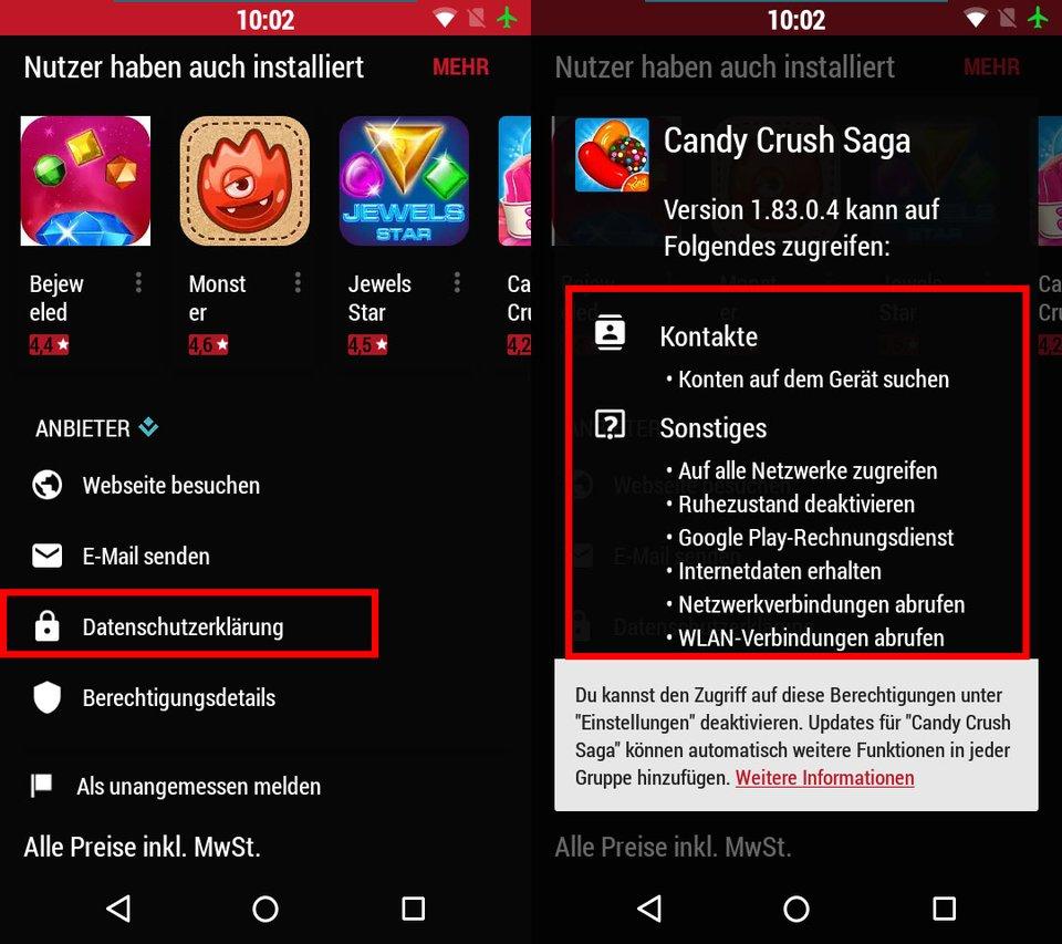 Play Store: Hier könnt ihr die geforderten App-Berechtigungen anzeigen lassen.