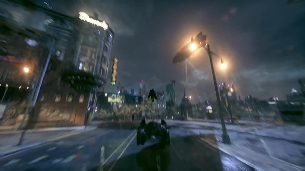 Mit dem Schleudersitz flüchtet ihr euch in brenzligen Situationen in den Himmel über Gotham City.