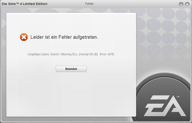 msvcp120.dll fehlt: Die Sims 4 kann nicht gestartet werden (Error: 0x7E)