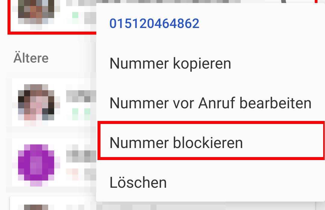 nummern blockieren samsung