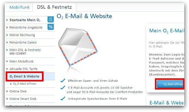 o2-Webmail - E-Mail-&Website