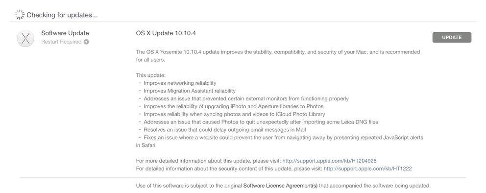 OS X 10.10.4 Update