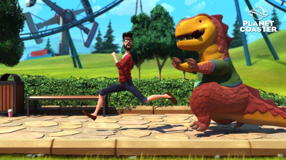 Auch riesige Dinos oder Cookies sind in eurem Park unterwegs, um eure Besucher zu erfreuen.