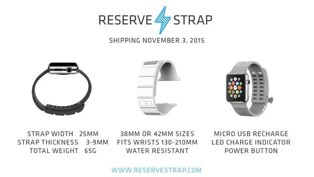 Reserve Strap: Zusatzakku-Armband für Apple Watch ab November erhältlich