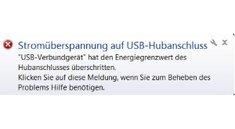 """""""Stromüberspannung auf USB-Hubanschluss"""": Fehler beheben"""
