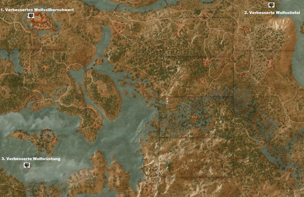 Witcher 3 Velen Karte.The Witcher 3 Verbessertes Wolf Rustungsset Fundorte Der