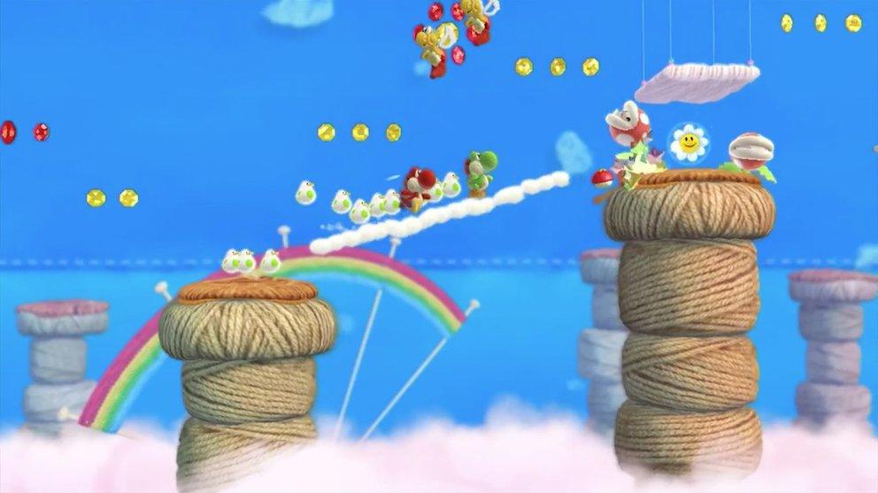 Yoshi und seine Freunde kämpfen sich durch wollige Angelegenheiten