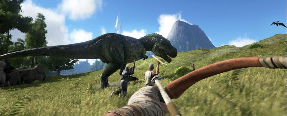 Gemeinsam mit anderen Stammesmitgliedern könnt ihr starke Dinos überwältigen
