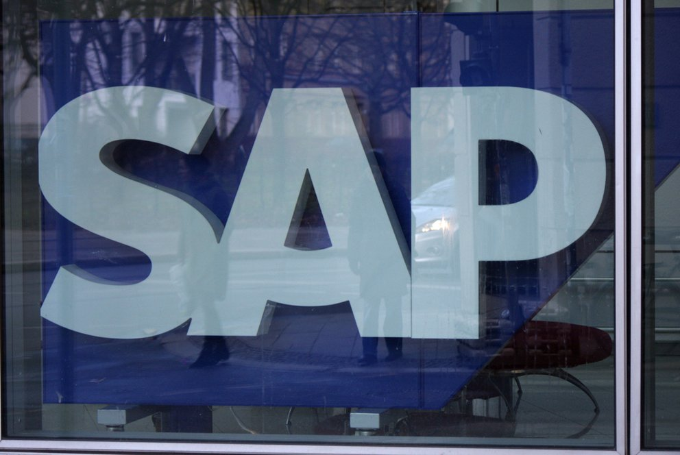 DECEMBER 2013 - BERLIN the logo of the brand SAP, Berlin