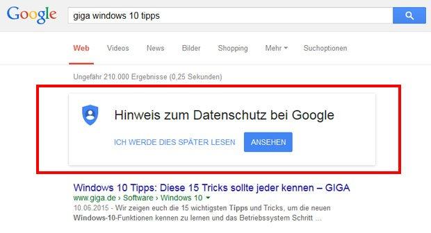 Hinweis zum Datenschutz bei Google - Was ist das? Wie ausblenden?