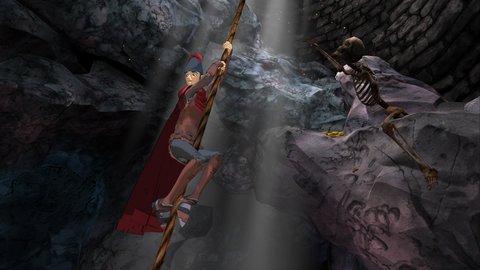 kings quest: graham klettert in einen brunnen hinab
