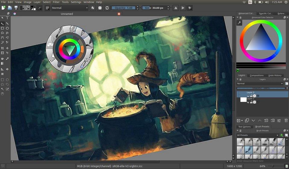 Krita: Die Bedienoberfläche erinnert an Photoshop oder Paintshop Pro.