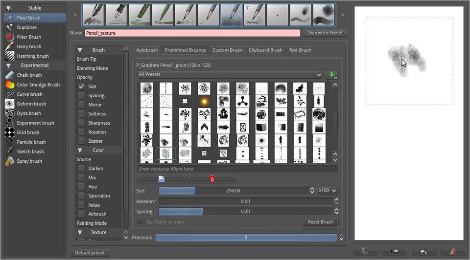 Durch die Brush-Engine könnt ihr in Krita euren digitalen Pinsel frei einstellen.