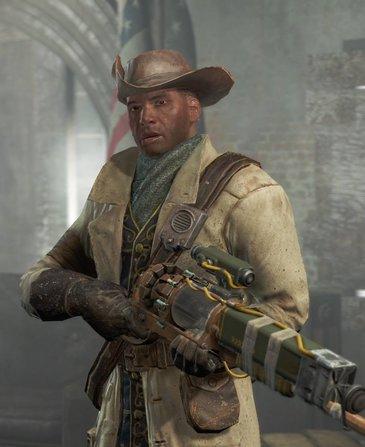 Preston Garvey mit Laser-Muskete und Uniform