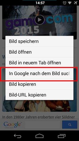 Android-Smartphone: Rückwärtssuche in der Chrome App.