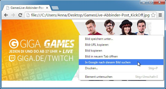 Rückwärtssuche im Chrome-Browser.