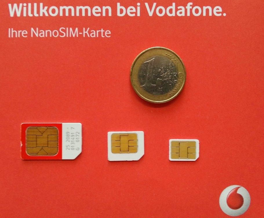 Größenvergleich aktueller SIM-Karten