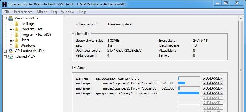Das Tool WinHTTrack speichert komplette Webseiten mit allen Dateien.