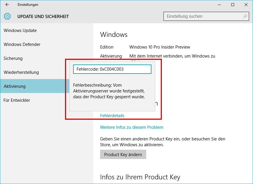 Bei der Aktivierung zeigt Windows 10 einen Fehlercode an.