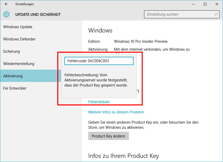 Lösung: Windows 10 lässt sich nicht aktivieren - Fehler