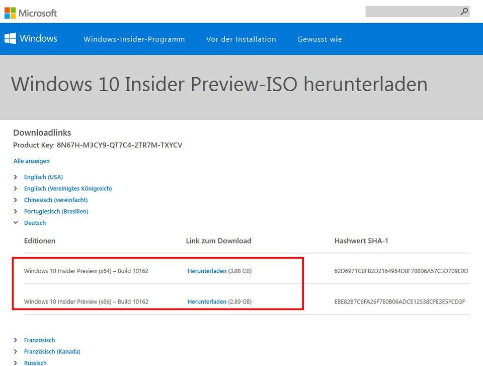 Im Insider Program ladet ihr euch Windows 10 als Vorschau-Version herunter.
