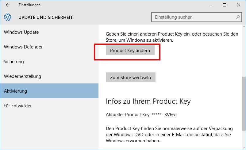 Der Product Key in Windows 10 lässt sich auch in den Einstellungen ändern.