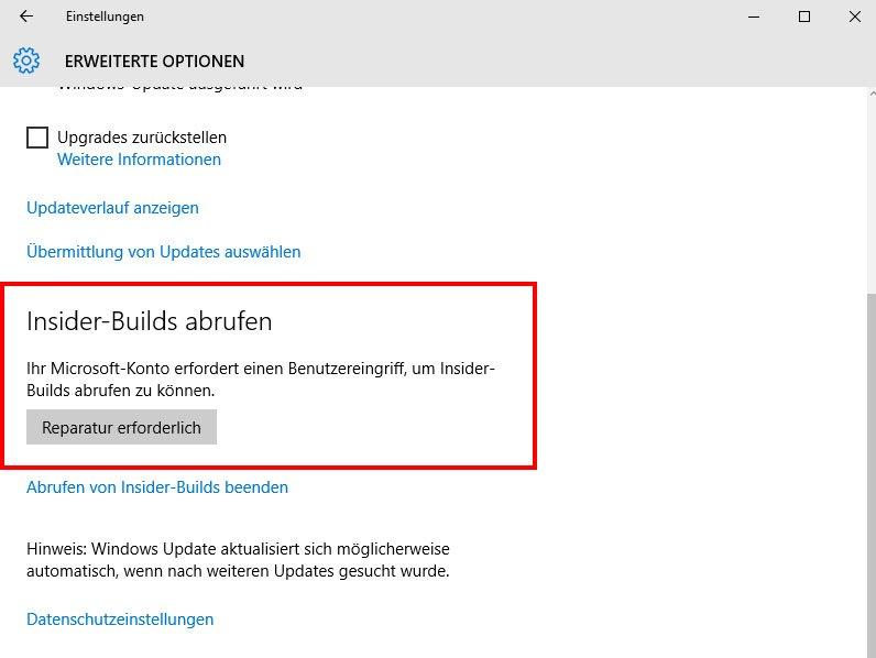 Ein Upgrade auf die aktuelle Version von Windows 10, funktioniert nur mit einem Microsoft-Insider-Konto.