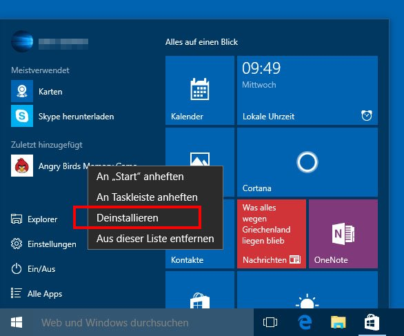 So deinstalliert ihr Apps in Windows 10.
