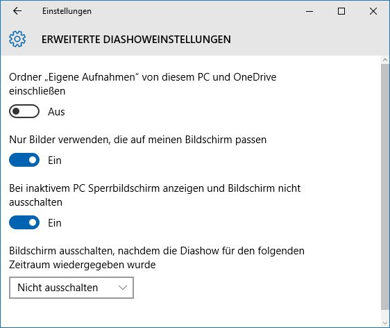 Die Erweiterten Diashoweinstellungen in Windows 10.